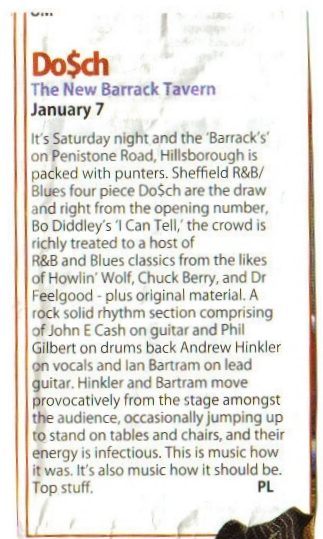 Review of a Dosch gig at The New Barrack Tavern. January 2006